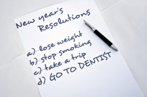 New Year's health resolution list, see dentist